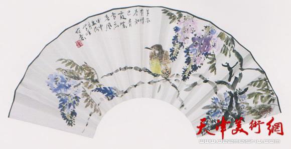 刘学峰作品《庭紫雪月色闲》