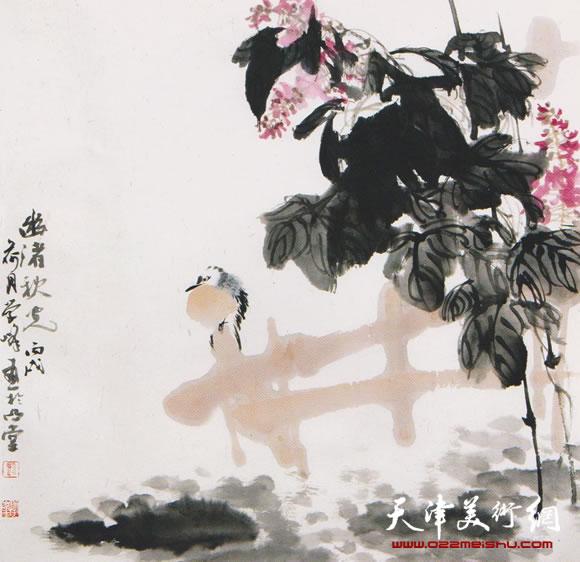 刘学峰作品《良禽栖疏篱 落花静无声》