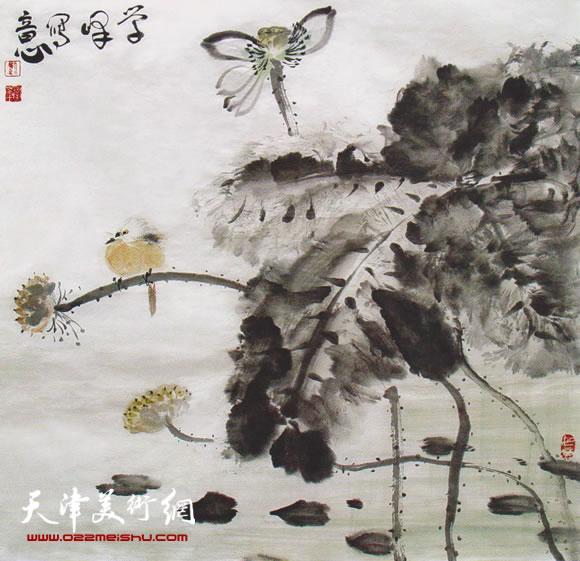 刘学峰作品《清秋任栖鸟 静听风雨声》