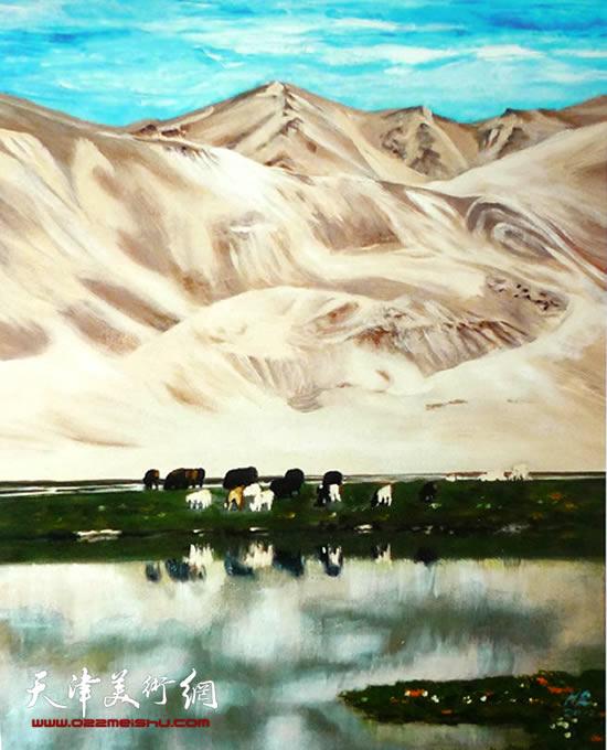 霍然油画作品《沙洲牧场》