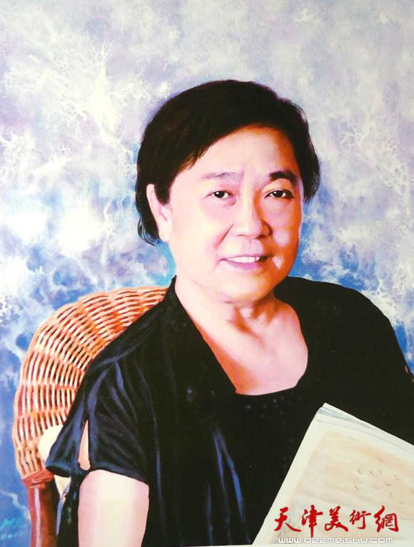 霍然油画作品《女画家李燕华女士》