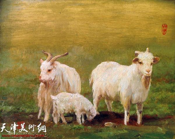 羊风景油画作品