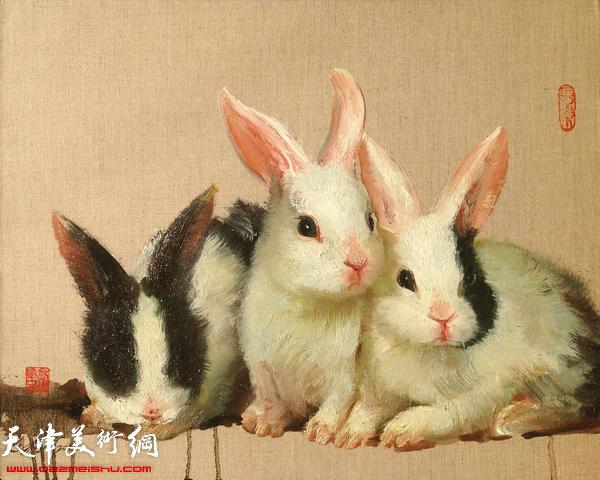 高建章系列生肖油画作品:《兔》