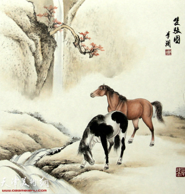 李澜画马新作:《双骏图》