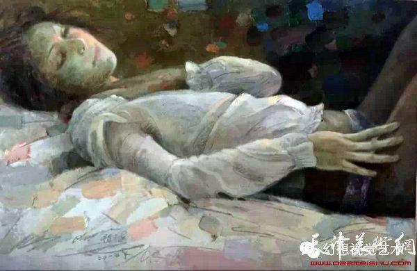 程亚杰最新油画人物速写作品《冷月》