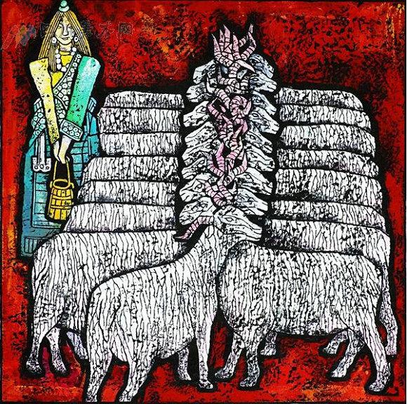 邓珠 卓玛与羊 近年来,一种全新的藏族艺术形式在艺术界悄然兴起,并引起越来越多的关注,它就是由一群来自雪域高原的艺术家打造出来的崭新藏族版画藏族祥巴。(祥巴为藏语音译,意为木刻版画)这种版画目前已在省内外多地展出并引起轰动。   著名版画艺术家李焕民先生在评价藏族祥巴时曾说:在艺术领域里,能创造一种新的形式是很难的,需要有高瞻远瞩的目光和埋头苦干的毅力。希望藏族祥巴的作者们永远保持旺盛的创造力,队伍不断扩大,使这一绚丽的奇葩更加辉煌。   以藏传佛印版画为基础   藏族木刻艺术具有悠久的发