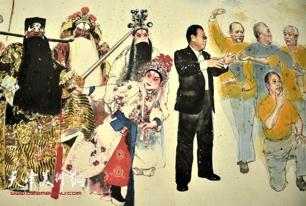刘洪麟创作的反映振兴京剧艺术的长卷首次在天津美术网亮相