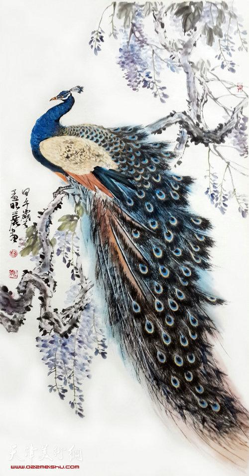 孟昭丽作品:紫藤孔雀