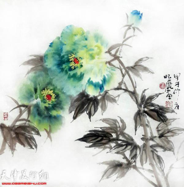 孟昭丽作品:绿牡丹