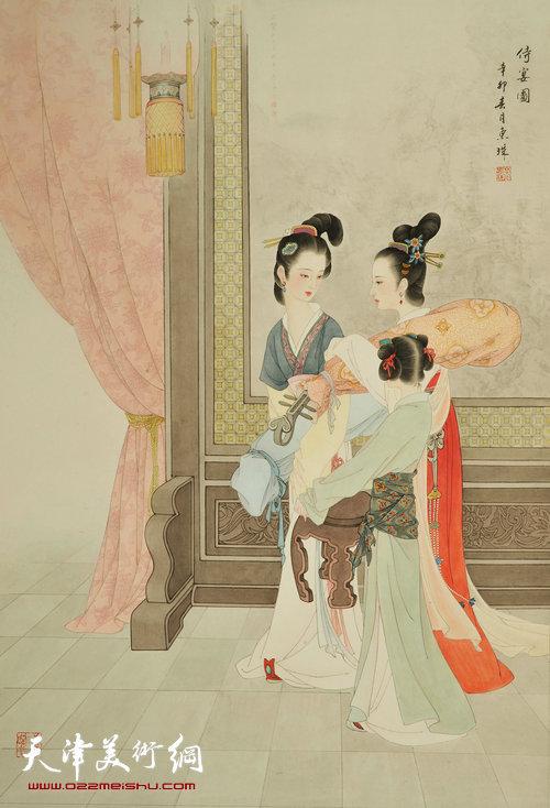萧慧珠作品:侍宴图