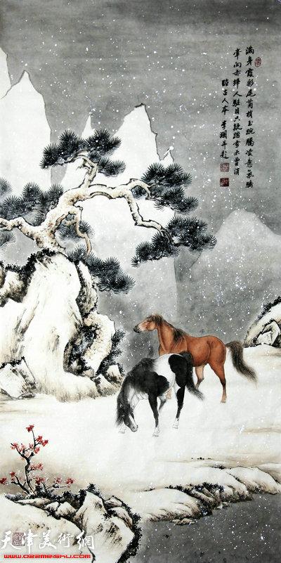 李澜2105雪景骏马图:古人诗意图