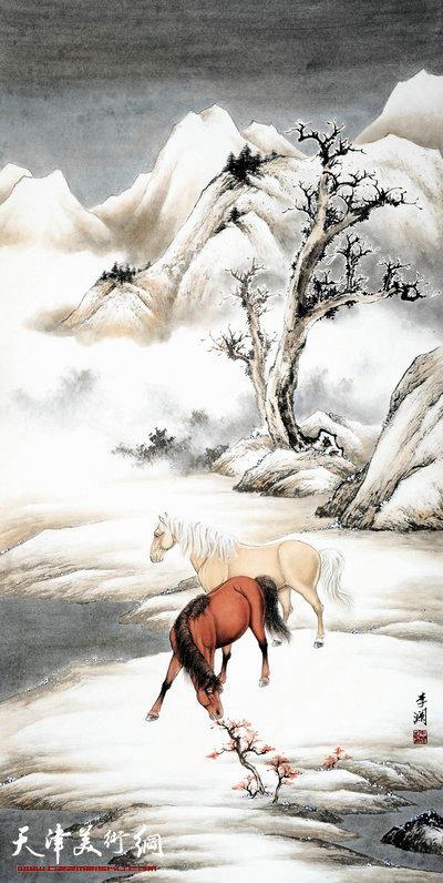 李澜2105雪景骏马图:晴雪双骏图