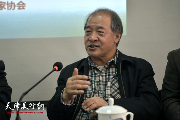 图为天津美协主席王书平讲话