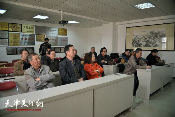 """""""海河天山情国画精品联展""""4月15日在津召开创作动员会,图为会场。"""