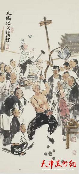 《老北京天桥-耍把式》201234×82纸本水墨