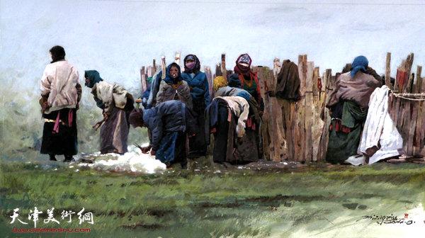 石增�L水彩画(不透明水彩)作品:《剪羊毛的女人们》