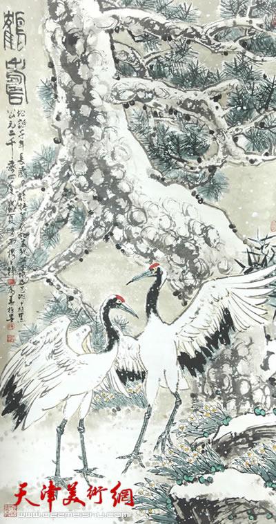 鹤寿(指画)