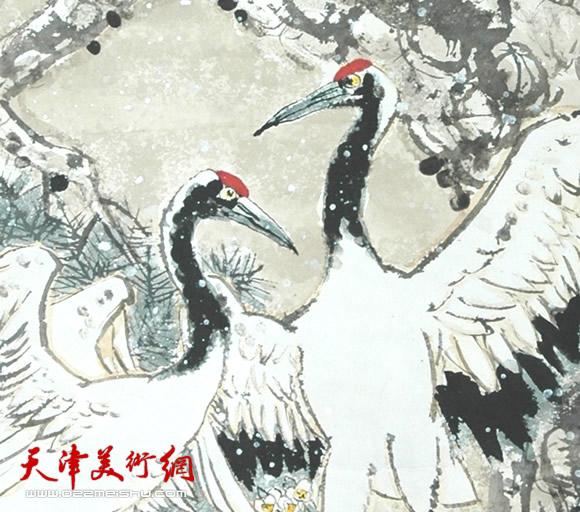 韩富华作品《鹤寿》指画