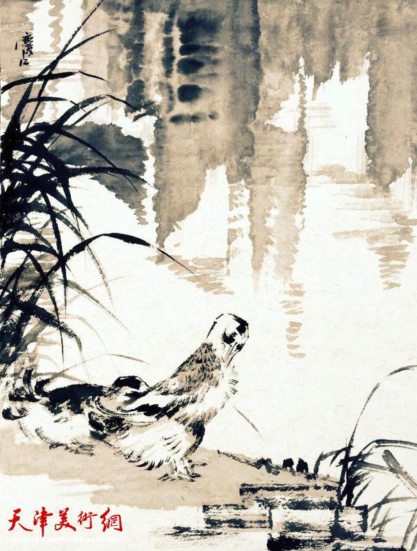"""天津美协""""深扎""""主题活动走进泾县明星宣纸厂,图为天津市美术家协会副主席孟庆占写生作品。"""