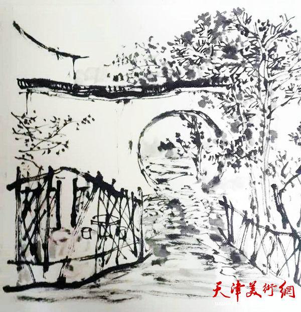 """天津美协""""深扎""""主题活动走进泾县明星宣纸厂,图为著名画家张运河写生作品。"""