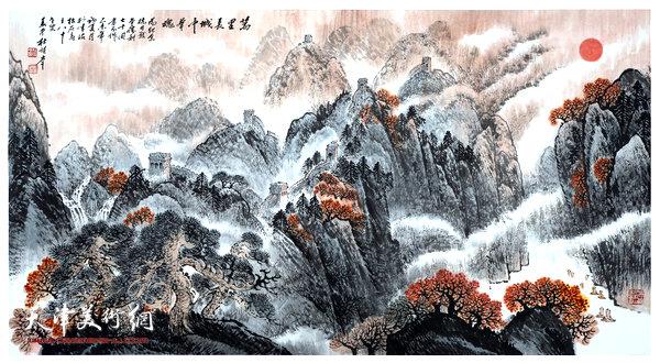 杜明岑巨幅山水画新作:《万里长城中华魂》