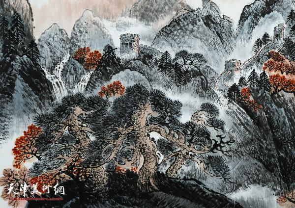 杜明岑巨幅山水画新作:《万里长城中华魂》(局部)
