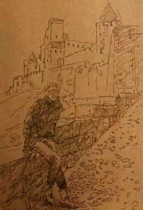 速寫《通往香波城堡的小路》 30x30cm 程亞杰 2009年于法國
