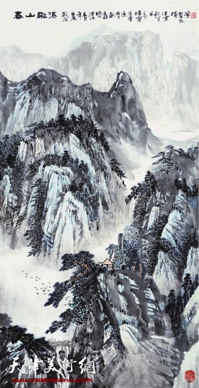 时景林作品《春山飞瀑》