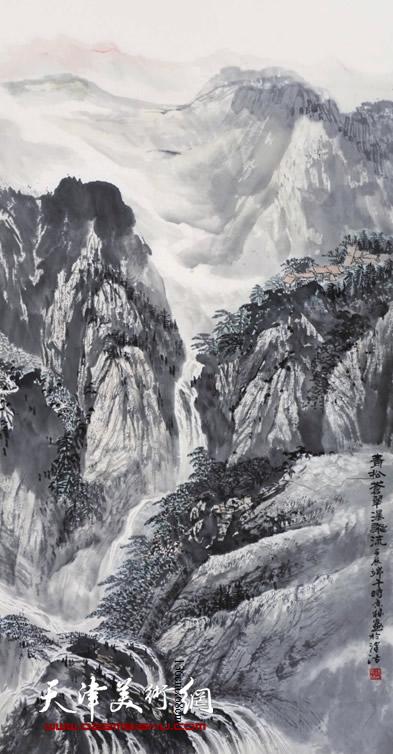 时景林作品《青松苍翠瀑飞流》