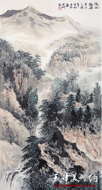 时景林作品《溪山幽居》