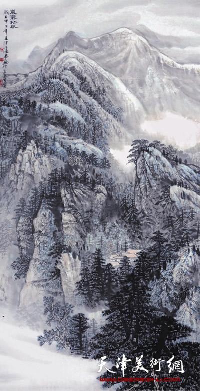 时景林作品《岚气松风》