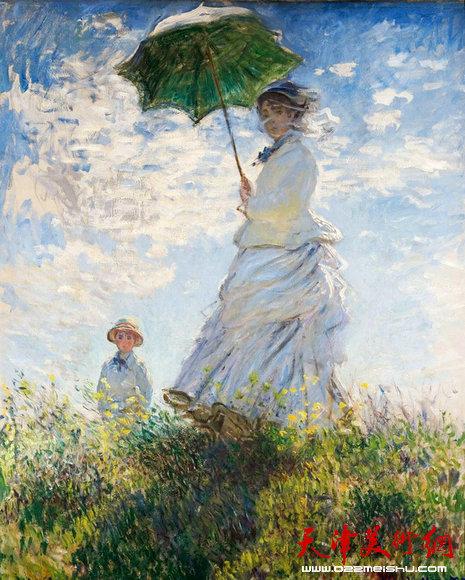 印象派画家莫奈 撑阳伞的女人
