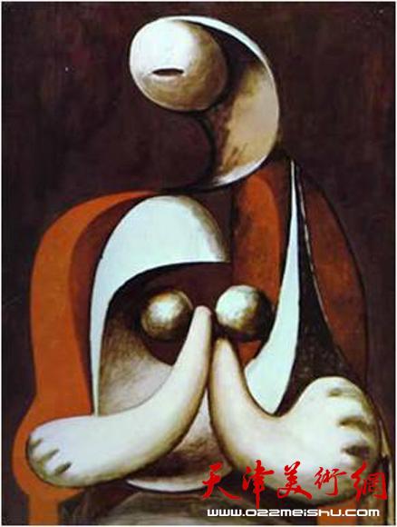毕加索 坐在红色座椅上的女人