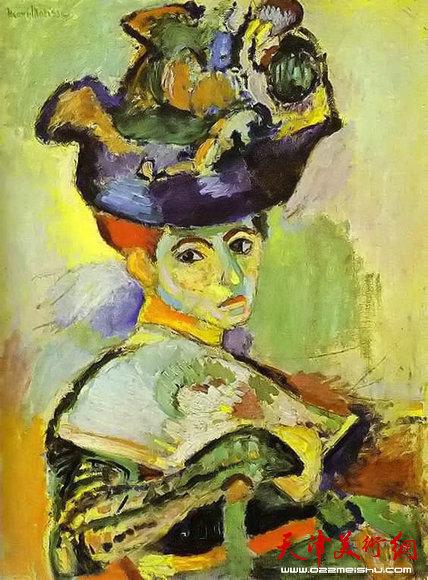 野兽派画家马蒂斯 戴帽子的妇人