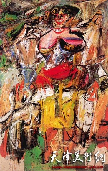 """美国画家威廉·德.库宁""""女人""""系列绘画(欲望的表现主义)"""