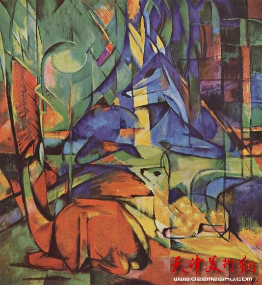 德国画家弗兰茨.马尔克 林中鹿(都市节奏的表现主义)