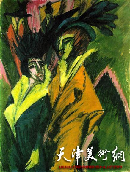 德国画家基希纳 街上行走的两个女人(社会浮华的表现主义)