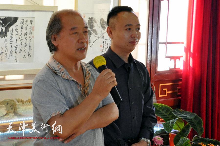 贾广健精品佳作9月13日在集真阁展出,图为王书平致辞。