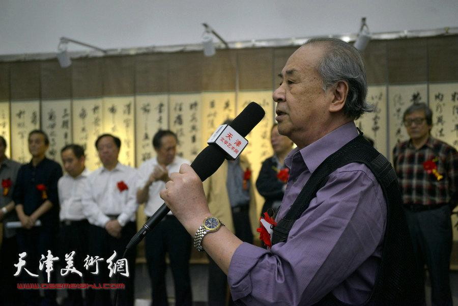 陈梅庵三代书画展在天津图书馆开展,图为开幕式现场。