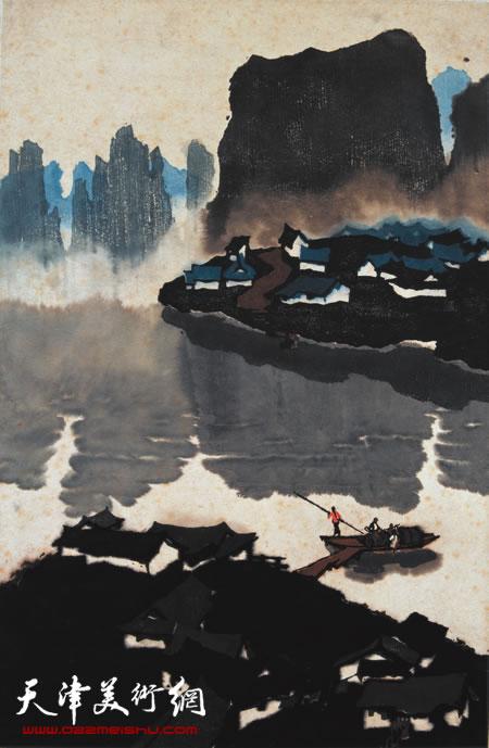 吴燃作品《两个村落之间》水印木刻