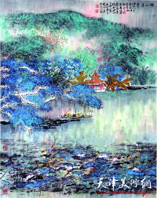 庞雨作品:《湖山苍翠》