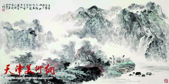 庞雨作品:《山色云外霞》