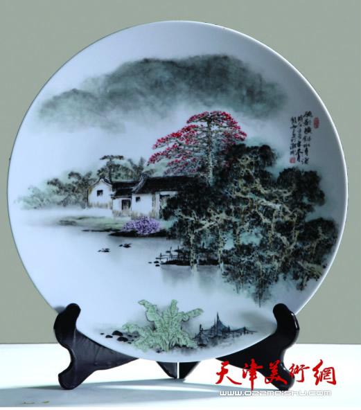 庞雨作品:《五彩山水纹盘》