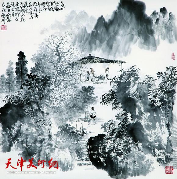 庞雨作品:《溪亭论道》