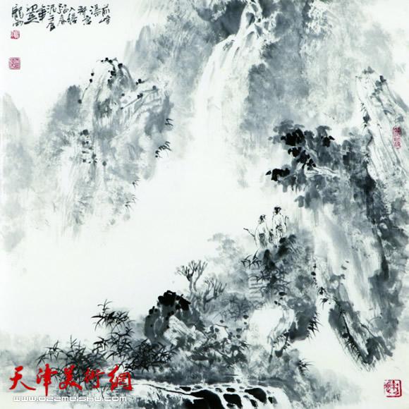 庞雨作品:《观瀑图》