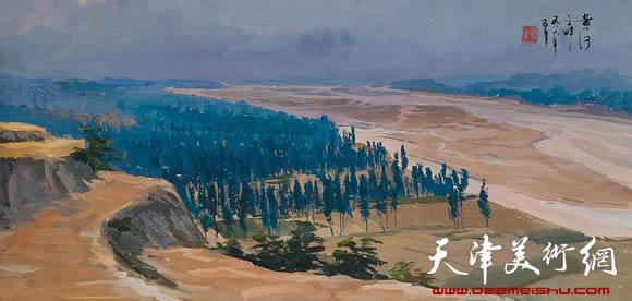 王绍棠作品《黄河之畔》水粉