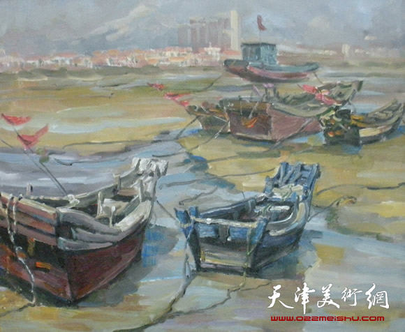 王绍棠作品《静静地银滩》油画
