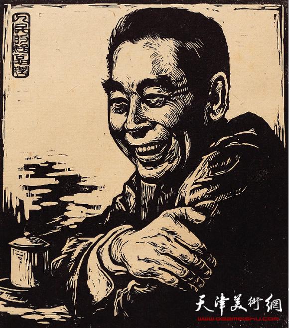 王绍棠作品《人民的好总理》木刻