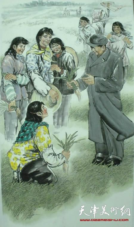 王绍棠作品《毛主席来到豆张庄》国画