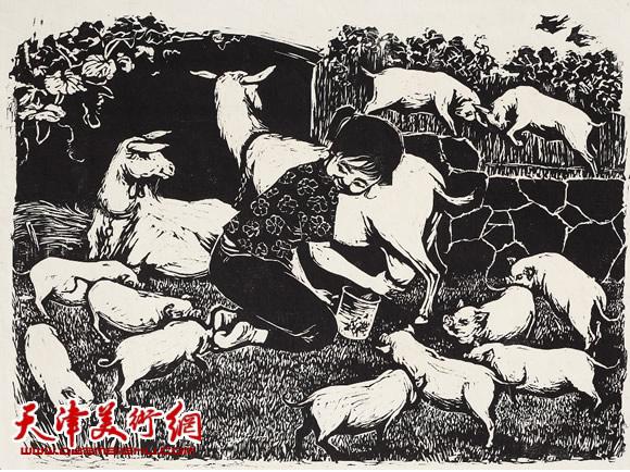 王绍棠作品《挤羊奶》木刻